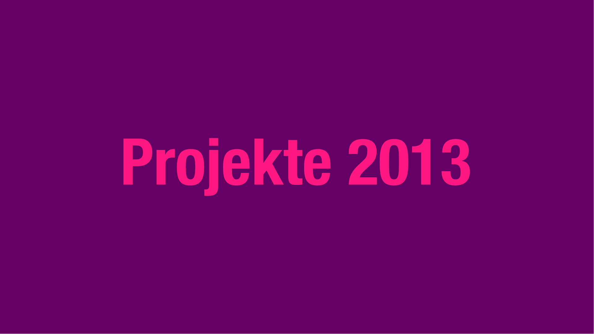 Projekte 2013