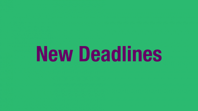 New Application Deadlines 2020