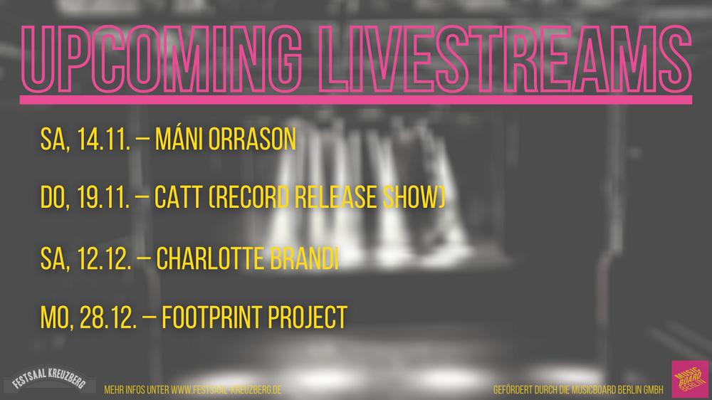 Soul Jazz Mirror Veranstaltungsbanner mit Ankündigung von Livestream Veranstaltungen